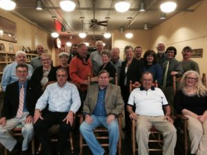 Shown here are (seated, l to r) Flemingsburg Mayor Voiers, Bath County Judge/Executive Bobby Rogers, Nicholas County Judge/Executive Mike Pryor, Carlisle Mayor Larry Jolly, Millersburg City Councilwoman Lisa Haubner, (second row, l to r) tourism leaders Brenda Plummer, Ginny Reeves and Carolyn Swartz of Fleming County, Brian Dickens of Paris Landing, Millersburg City Councilwoman Lorrain Smoot, Tracy Pratt-Savage of Carlisle-Nicholas County Economic Development, Monica Pryor of Carlisle, Ethan Linville of Bluegrass ADD, Jay Schweitzer of Setter Ridge Outfitters, and (third row, l to r) Mike Galbraith of Lexington, Ben Fryman of Fryman's Boat Dock and Kentucky Bank, David Snell of Paris-Bourbon County Tourism, Robert Barker of ArtCroft and 5th Street Café, Chris Chaney of Bluegrass ADD, Pat Conley of Paris-Bourbon County Tourism, and Ethan Linville Bluegrass ADD